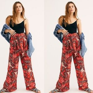 Free People Printed Double Trouble Pants NWT